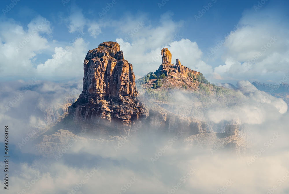 Fototapeta Landscape with Roque Bentayga and Roque Nublo in the background, Gran Canaria, Canary Islands, Spain