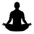 Meditating man vector silhouette, lotus pose