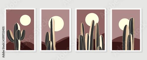 Fotografia Desert illustration minimal wall arts design vector