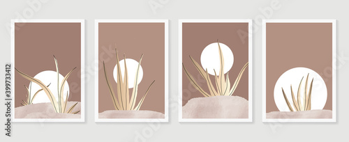 Obraz na plátne Botanical and gold abstract wall arts vector collection
