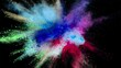 Abstract multicolored dust splatter on black background