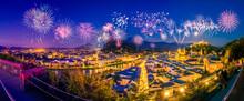 Fireworks Display In Salzburg. Salzburger Land, Austria