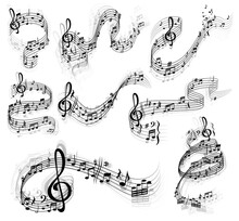 Music Notes Vector Set With Swirls And Waves Of Musical Staff Or Stave, Treble And Bass Clefs, Sharp And Flat Tones, Rest Symbols And Bar Lines. Sheet Music Design With Musical Notation Symbols