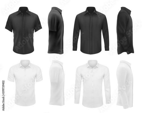 Fotografia, Obraz Men clothes vector tshirts and shirts with short and long sleeves apparel mockup