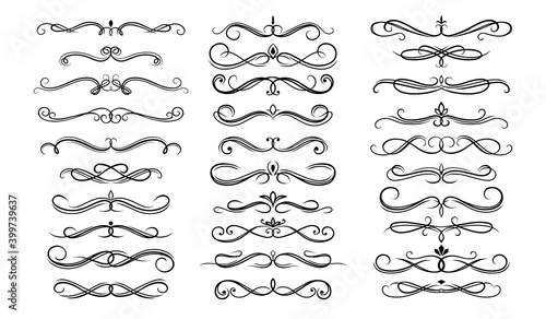 Obraz Dividers, borders and frame lines vector set with floral ornaments, victorian flourishes. Divider borders with ornate flowers, vintage vignette scrolls, swirls and fleur de lis calligraphy decorations - fototapety do salonu