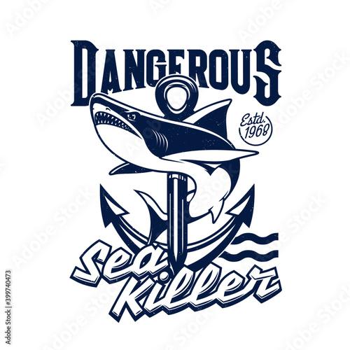 Fotomural Shark and sea ship anchor t-shirt print mockup, vector fishing sport
