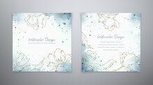 Spring Floral Cards. Set Vector Watercolor Templates In Blue And Golden Colors. Watercolor Design With Golden Tulps