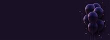Bunch Of Matt Dark Violet Balloons With Threads On Dark Background.
