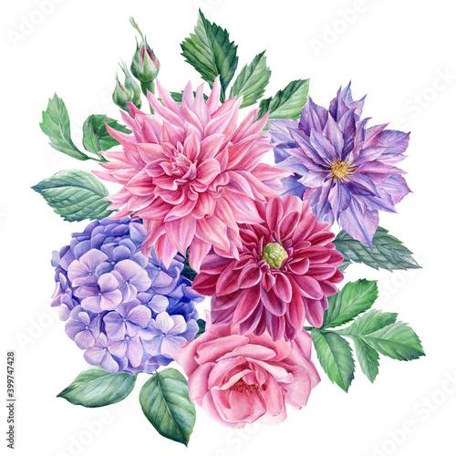 Fototapeta Bouquet of flowers dahlia, rose, clematis, hydrangea, watercolor botanical illus