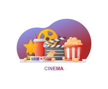 Cinema Vector Illustration. Colorful Cinema Banner For Website, App, Board Etc.  Composition With Popcorn, Clapperboard, 3d Glasses And Filmstrip.