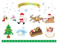 かわいいクリスマスのイラストのセット