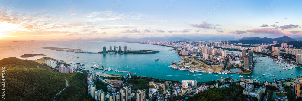 Fototapeta Aerial photography of the architectural landscape of Sanya, China