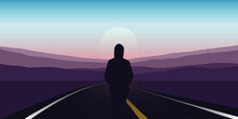 Girl Stad On The Asphalt Road And Looks To The Mountains Vector Illustration EPS10