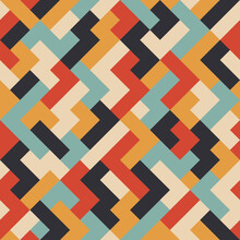 Geometric Seamless Pattern With Zig Zag Shapes And Stripes With A Retro Color Palette
