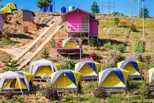 Phetchabun, Thailand - November, 29, 2020 : Camping And Tent Among Meadow On Hill In Khao Kho, Phetchabun, Thailand