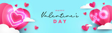 Valentines Day Modern Design For Website Header, Greeting Or Sale Banner, Flyer, Poster In Paper Cut Style With Frame Made Of Cute Flying Origami Hearts Over Clouds And Neon Lighting Heart And Xo Text