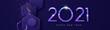 New Year 2021 futuristic 3d geometric web banner
