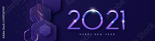 Obraz New Year 2021 futuristic 3d geometric web banner - fototapety do salonu