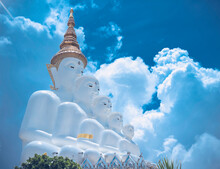 Five Buddha At Wat Pha Sorn Kaew In Khaokho,Petchabun, Thailand. Famous Beautiful Temple In Thailand. Amazing Landmark Of Khao Kho With Cloudy Sky.