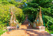 Chiang Mai, THAILAND - DEC 8, 2020: Golden Mount At The Temple At Wat Phra That Doi Suthep.