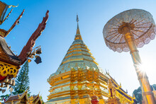 Beautiful Golden Mount At The Temple At Wat Phra That Doi Suthep.