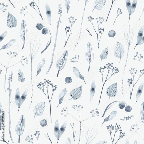 Obraz na plátne Cute seamless pattern with dried flowers