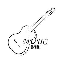 Guitar Logo And Inscription Music Bar. Music Logo. Vector Illustration Silhouette Of Guitar. Music Bar Icon. Hand Drawing