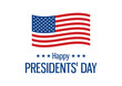Happy Presidents' Day Sign with american flag icon vector. Waving american flag icon isolated on a white background. Happy Presidents' Day vector illustration. American holiday vector. Important day