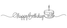 Happy Birthday Handwritten Lettering With Traditional Birthday Cake. Continuous Line Drawing Design. Vector Illustration