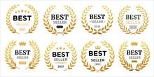 Best Seller Icon Designs Set With Laurel, Best Seller Badge Logo Template Isolated On White Vector Illustration Eps 10