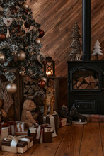 Christmas And New Year 2021. New Year's Interior. Christmas Tree