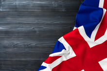 Flag Of United Kingdom On Wooden Background