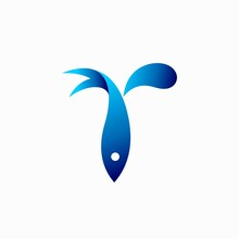 Letter T Logo With Fish Vector