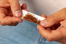 Male Hands Rolling Tobacco In Cigarette Paper