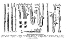 Wind Musical Instruments: Flute, Sax, Clarinet, Oboe, Saxophone From A Catalogue With German Descriptions