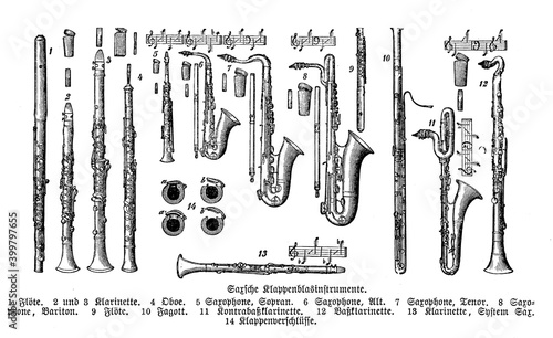 Fotografia Wind musical instruments: flute, sax, clarinet, oboe, saxophone from a catalogue