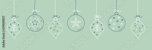 Obraz Hanging Christmas balls with hand drawn decorations. Vector - fototapety do salonu