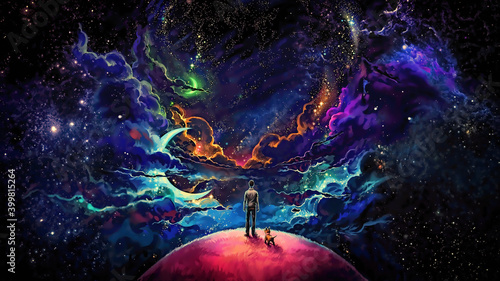 Foto Man and dog standing on top of planet digital painting image