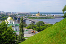 A View Of The Kanavinsky Bridge Across The Oka River From The High Bank Of The River.