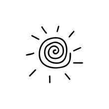 Spiral Sun Sign. Icon Black And White Vector Illustration Isolated Doodle. Single Esoteric Symbol Hand Drawn