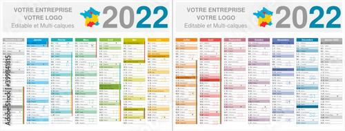 Fotografiet Calendrier 2022 14 mois avec vacances scolaires officielles au format 320 x 420