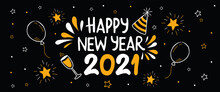 Happy New Year 2021 Fun Gold Party Doodle Banner