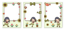 Cute Element Frame With Cute Girl And Flower. There Is A Blank Space For The Text. This Cute Frame Design For Wallpaper, Memo Sheets, Notepads, Web Page Background, Card, Banner Design And More.
