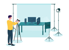 Professional Male Photographer Making Commercial Shooting. Man Using Lamps, Tripod And Background In The Studio To Make Photos Look Good And Ready To Sell. Flat Cartoon Vector Illustration