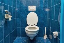 Toilet In Blue Tiled Bathroom