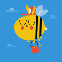 Bee Worker With A Bucket Of Honey Retro Illustration Flat