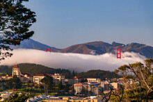 Golden Gate Bridge Peeks Out From The Fog In San Francisco