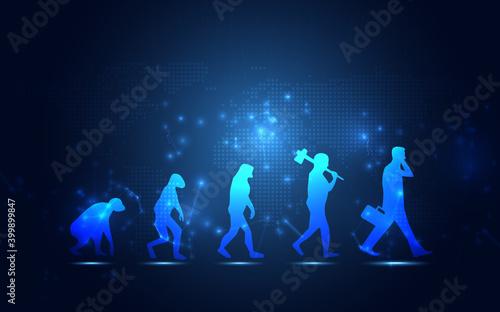 Fotografia, Obraz Abstract Human evolution digital transformation innovative of technology life blue background