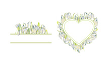 Set Of Romantic Spring Frames With Snowdrops On The Outer Edge On A White Isolated Background. Watercolor Painting.