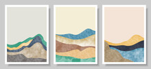 Set Of Abstract Mountain Landscape, Oriental Style. Minimalist Design. Abstract Water Color. Vector Background Illustration.